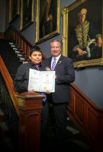 Isaiah Aguonie from Sheguindah First Nation receives the 2016 James Bartleman Indigenous Youth Creative Writing Award today from Lieutenant Governor of Ontario Elizabeth Dowdeswell and James Bartleman a proud moment indeed for family, friends and teacher too.